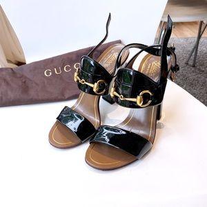 Gucci horsebit chunky sandal heels 5.5